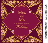 vintage invitation and wedding... | Shutterstock .eps vector #632281265