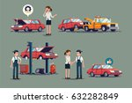 cool set of repair shop and... | Shutterstock .eps vector #632282849