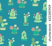 cactus seamless pattern. hand... | Shutterstock .eps vector #632285909
