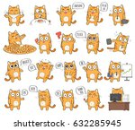 set of cute cat character with... | Shutterstock . vector #632285945