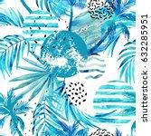 abstract summer tropical palm... | Shutterstock . vector #632285951