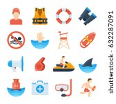 lifeguard vector icons in a... | Shutterstock .eps vector #632287091
