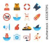lifeguard vector icons in a... | Shutterstock .eps vector #632287091