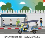 driver drive a tuk tuk on the... | Shutterstock .eps vector #632289167