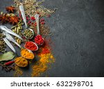 variety of natural spices ... | Shutterstock . vector #632298701