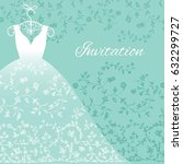 wedding dress with floral lace...   Shutterstock .eps vector #632299727