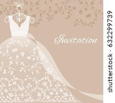 wedding dress with floral lace... | Shutterstock .eps vector #632299739