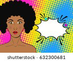 wow pop art face. sexy... | Shutterstock .eps vector #632300681