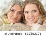 Small photo of Beautiful elderly mother with an adult daughter