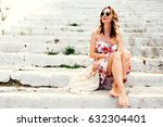 beauty tanned and stylish young ... | Shutterstock . vector #632304401