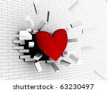 abstract 3d illustration of red heart breaking wall, strong love concept - stock photo