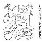 smoke set vector illustration.... | Shutterstock .eps vector #632316929