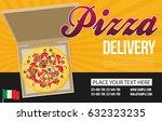 pizza box vector advertisement... | Shutterstock .eps vector #632323235