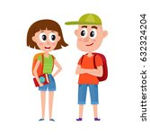 couple of tourists  man and... | Shutterstock .eps vector #632324204
