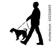 silhouette of man and dog on a... | Shutterstock .eps vector #632326835