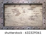 metal frame with nails... | Shutterstock . vector #632329361