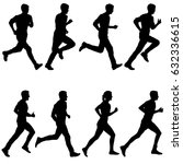 set of silhouettes. runners on... | Shutterstock . vector #632336615