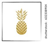 gold glitter pineapple pattern. ... | Shutterstock .eps vector #632338904