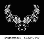 floral neck embroidery design... | Shutterstock .eps vector #632340449