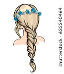 woman holding her braid set of... | Shutterstock .eps vector #632340464