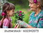 happy grandmother with her... | Shutterstock . vector #632342075