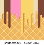 the flowing down ice cream on a ... | Shutterstock .eps vector #632342861