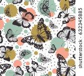 vector butterflies pattern.... | Shutterstock .eps vector #632345885