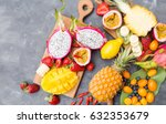 exotic fruits on a gray... | Shutterstock . vector #632353679