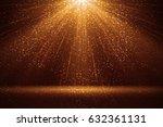 stage light and golden glitter...   Shutterstock . vector #632361131