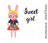 sweet girl. cute little bunny... | Shutterstock .eps vector #632370161