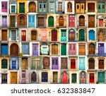 collage of wooden  colourful... | Shutterstock . vector #632383847