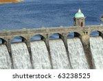 Craig Goch reservoir dam close up, Elan Valley, Wales. - stock photo