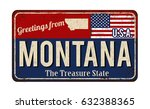 greetings from montana vintage... | Shutterstock .eps vector #632388365