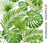 exotic leaves  rainforest.... | Shutterstock .eps vector #632394119