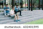 multiethnic group of college... | Shutterstock . vector #632401595