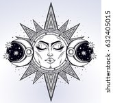 vintage hand drawn sun  two...