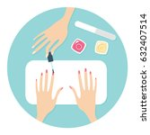 manicure salon procedure vector ... | Shutterstock .eps vector #632407514