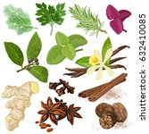 spices. vector menu icon set.... | Shutterstock .eps vector #632410085