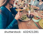 close up of girl eating salad... | Shutterstock . vector #632421281