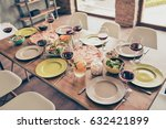 Small photo of Let`s get it started! Nicely served wooden table with tasty dishes and glasses of wine ready for the party