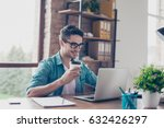 smiling handsome worker in... | Shutterstock . vector #632426297