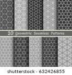 set of 10 seamless geometric... | Shutterstock .eps vector #632426855