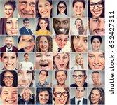 smiles. happy men and women  | Shutterstock . vector #632427311