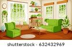 Vector cozy living room interior with big windows, sofa, armchair and houseplants. | Shutterstock vector #632432969