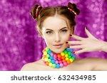bright girl model holding hands ... | Shutterstock . vector #632434985