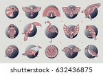 set of bird icons. abstract... | Shutterstock .eps vector #632436875