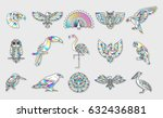 set of bird patches. abstract... | Shutterstock .eps vector #632436881