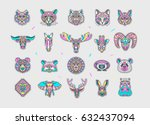 set of animal patches. abstract ... | Shutterstock .eps vector #632437094