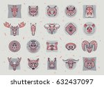 set of animal icons. abstract...   Shutterstock .eps vector #632437097
