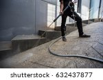 the man cleaning with high... | Shutterstock . vector #632437877